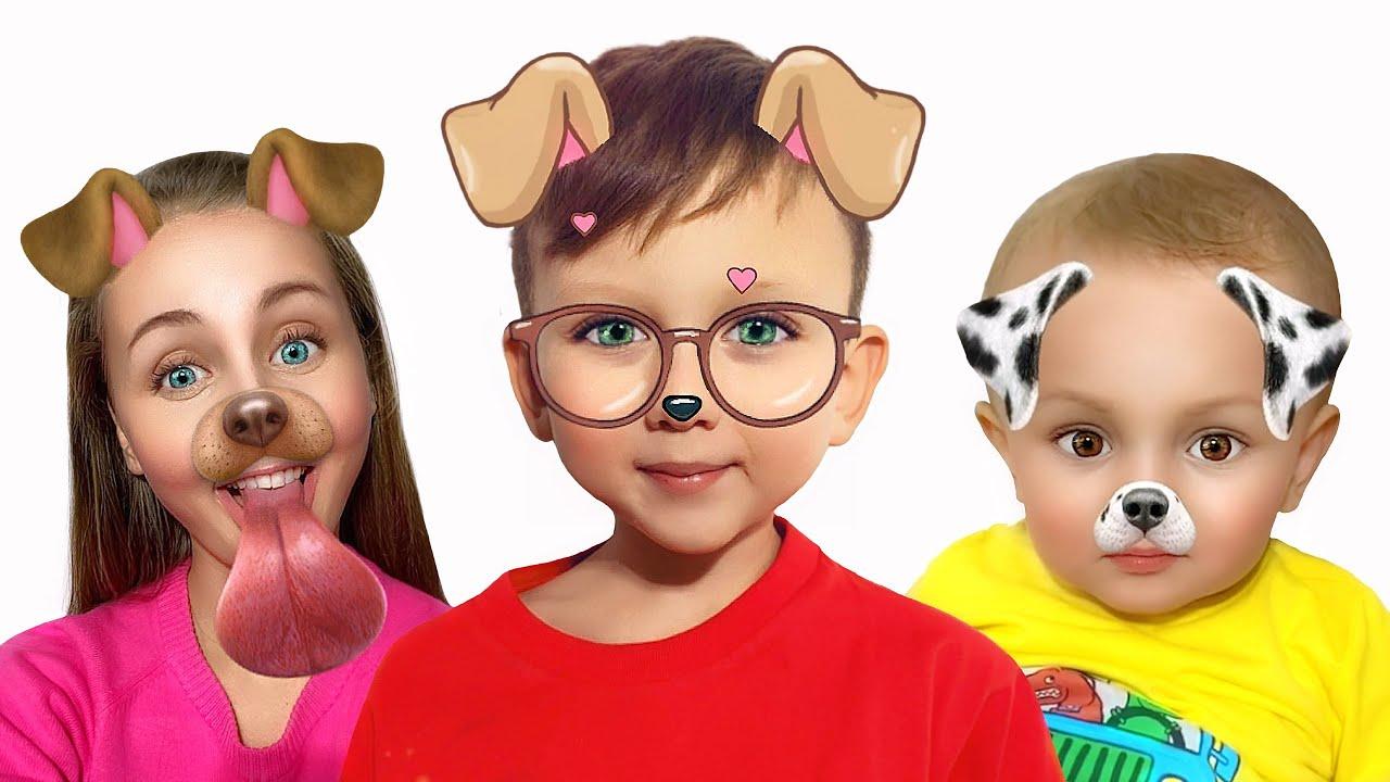 Niki, Senya and Mom are playing with funny masks
