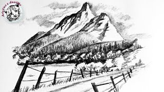 How to Draw Easy Landscape with Pencil Step by Step