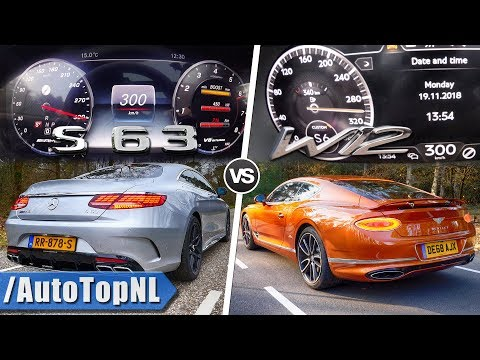 2019 S63 AMG Coupe vs 2019 Bentley Continental GT 0-300km/h ACCELERATION SOUND & POV by AutoTopNL