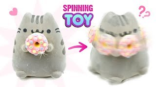 DIY SPINNING PUSHEEN TOY!!! Cute Room Decor or Xmas Gift Idea! How To Reuse Viral Fidget Spinners :P