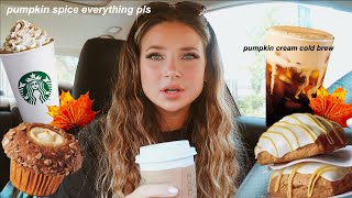 trying NEW starbucks fall drinks & sweets