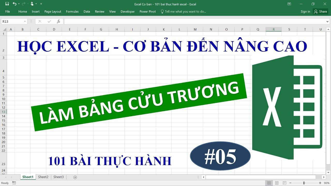 Học Excel từ cơ bản đến nâng cao – Bài 05 Hướng dẫn làm bảng cửu chương