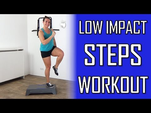 10 Minute Low Impact Steps Workout For Beginners – Step Exercises With No Jumping – At Home