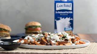 Sweet Potato Fries Recipe With Mushroom Gravy | LACTAID®