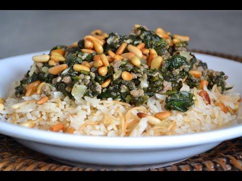 riz-aux-épinards/spinach-with-rice/طريقة-عمل-الارز-بالسبانخ-واللحم