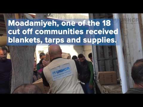 UNHCR aid reaches besieged Syrian town of Moadamiyeh
