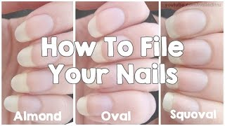 How To File Your Nails | Almond, Oval & Squoval(READ THIS: - Grit: The lower the grit, the rougher the file. 100 grit is good for shaping acrylics, but 240 grit is good for shaping the natural nail. 180 is the lowest ..., 2015-01-22T19:00:16.000Z)
