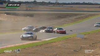 Porsche GT3 Cup Challenge Australia 2018. Race 2 The Bend Motorsport Park. 1st Lap Crashes
