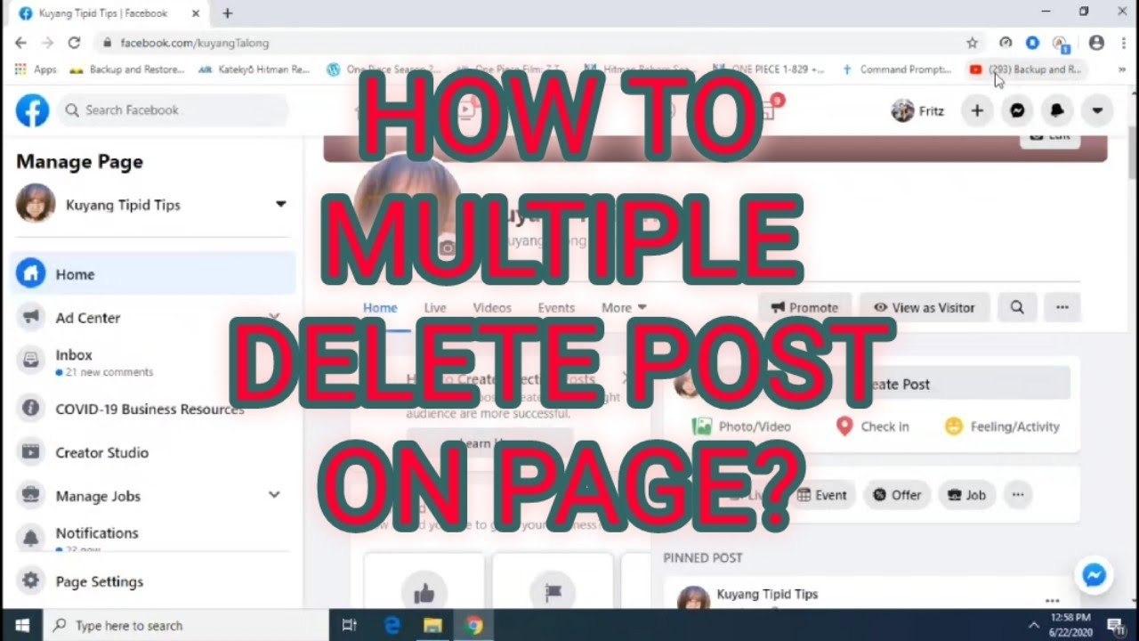 How To Delete All Post On Fb Page 2020 Youtube