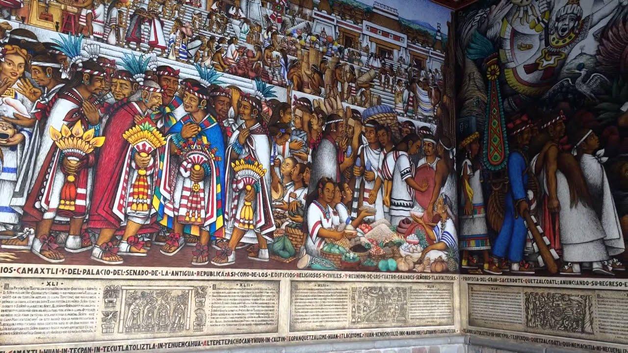 Vista de los murales en Palacio de Gobierno de Tlaxcala