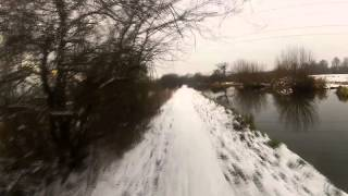 Cycling along a snowy Kennet Towpath - January 2013