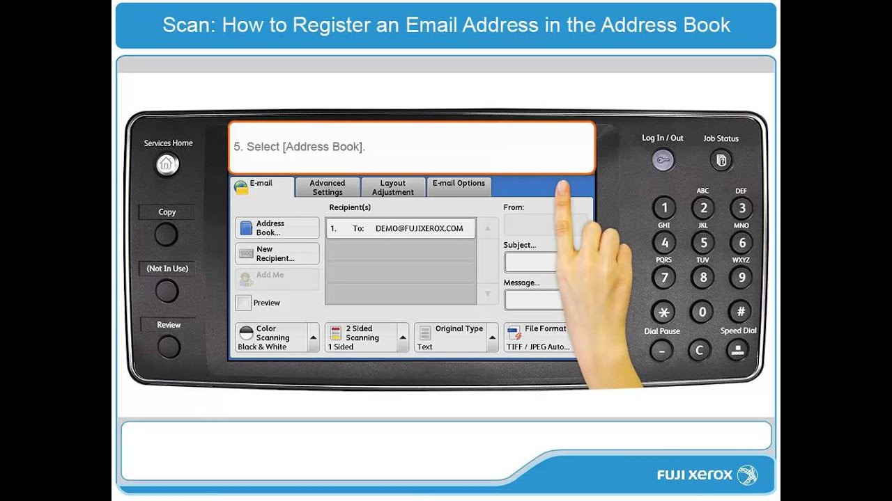 how to register an email address in the address book apeosport v
