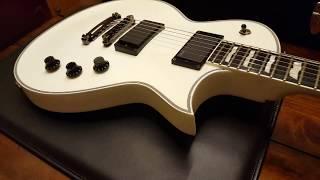 ESP ECLIPSE II SNOW WHITE ALPINE LES PAUL STYLE GUITAR UP CLOSE VIDEO REVIEW