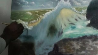 How To Draw - Beautiful wave Oil painting