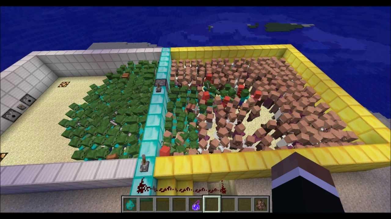 Minecraft zombies vs npc villagers re visit of a re - Minecraft zombie vs creeper ...