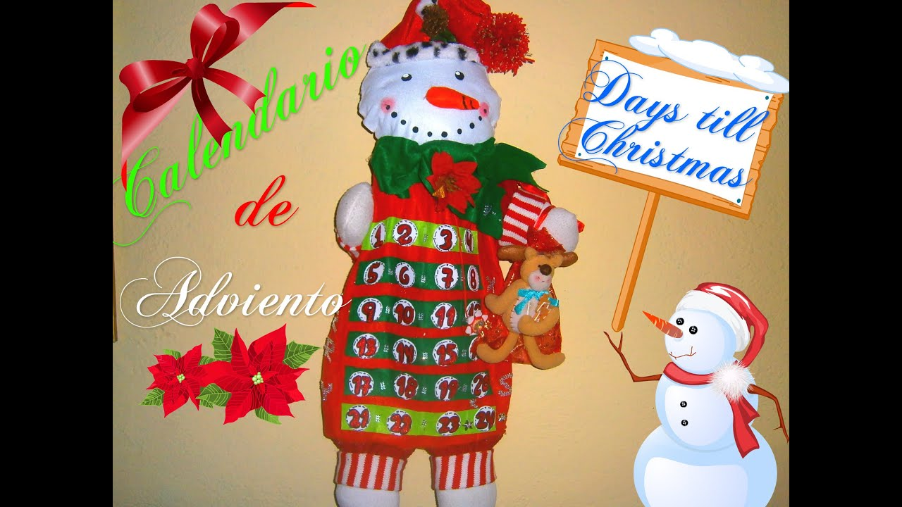 Calendario de Adviento en fieltro mueco de NieveDIY Holiday