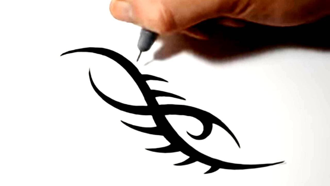 aa3091060 Drawing a Simple Tribal Tattoo Design - YouTube