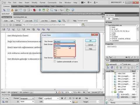Dreamweaver Metin Işlemleri Tarih Ve Saat Eklemek Youtube