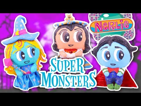 Drac, Katya & Cleo from SUPER MONSTERS with NERLIE BABIES! Toy Transformations!