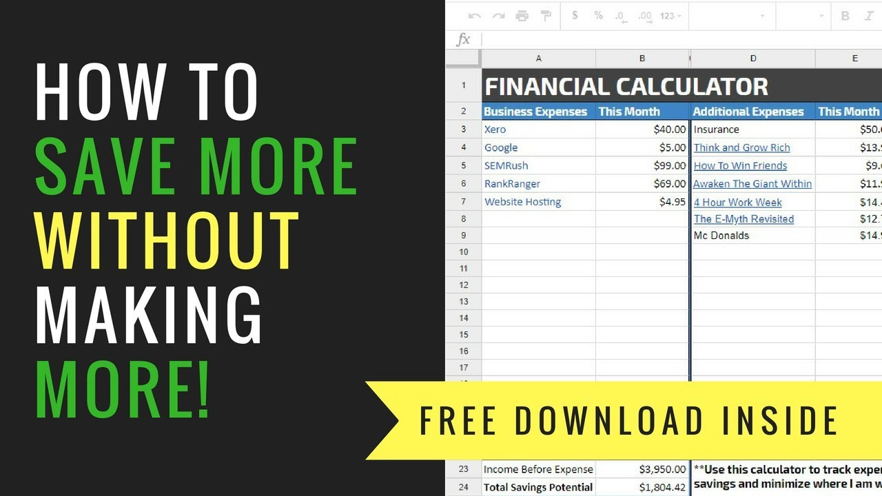 how to save more money free budget calculator youtube