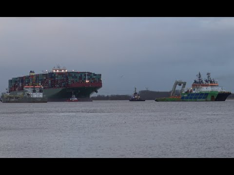 Unique Salvage Operation CSCL INDIAN OCEAN Refloating with 12 Tug Boats