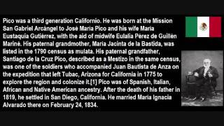 Pío Pico, Last Governor of Alta California (Now California) Under Mexican Rule