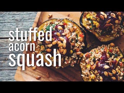 acorn squash stuffed with herbed cornbread stuffing with seitan