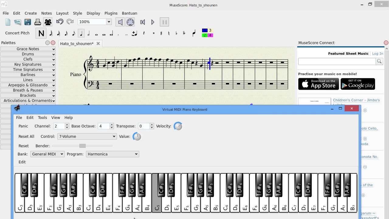 Setup Score input mode with VMPK in Ubuntu for MuseScore