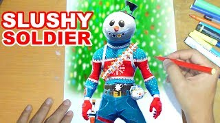 FORTNITE Drawing SLUSHY SOLDIER - How to Draw SNOWMAN | Step-by-Step Tutorial - Fortnite Season 7