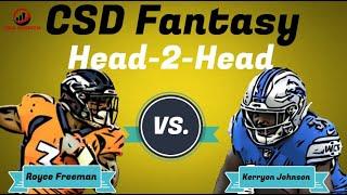 Fantasy Football 2018 - Week 5 Head 2 Head Royce Freeman vs. Kerryon Johnson