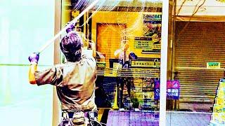 コンポジアルファ・窓ガラス清掃・ポール作業風景1
