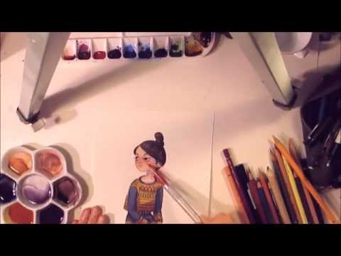 Watercolor Girl Timelapse Work in Progress Painting drawing by Iraville