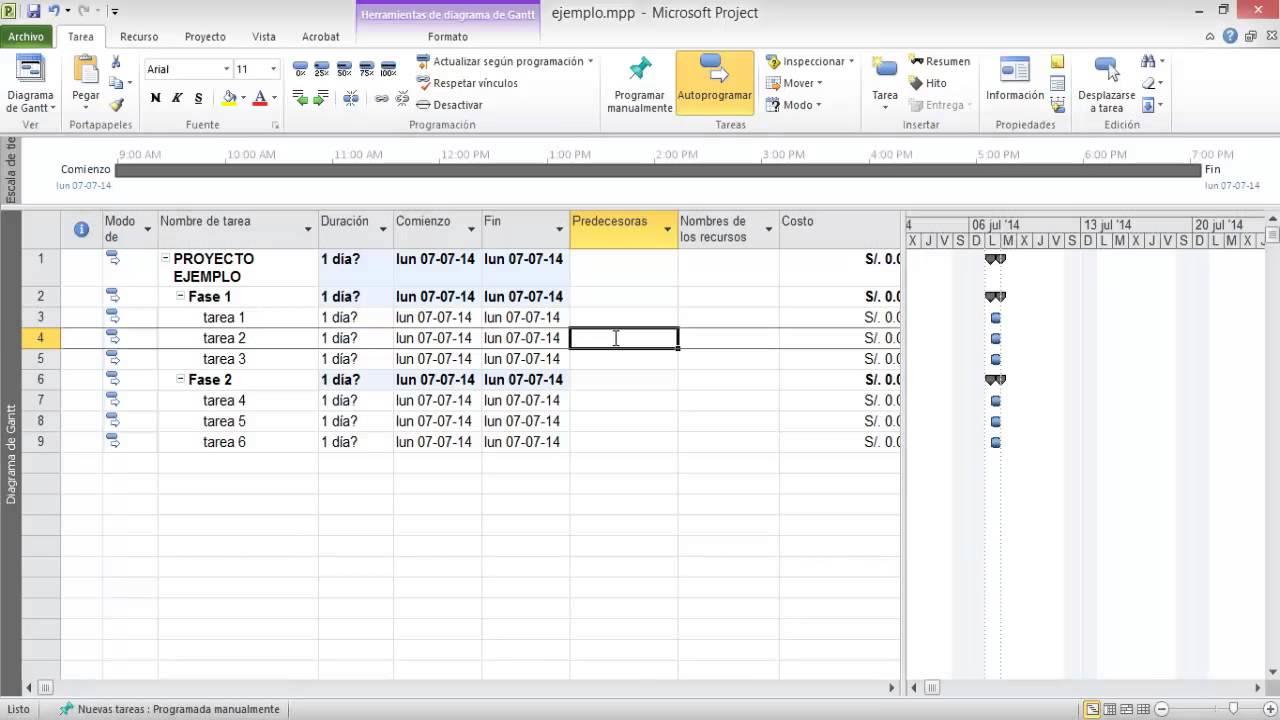 Ejemplo Diagrama De Gantt Con Ms Project