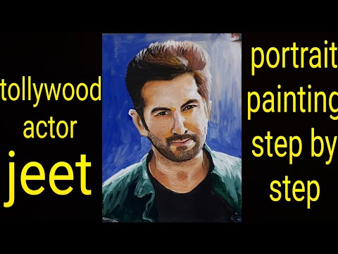 tollywood actor jeet portrait painting step by step tutorial for beginners