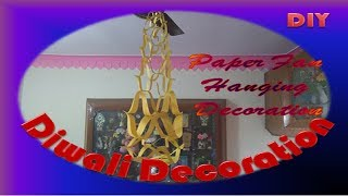 Diwali Decoration || hanging paper fan decorations || Paper Craft Decoration