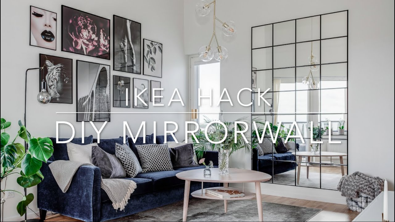 IKEA HACK DIY Industrial Mirror wall under 10 $