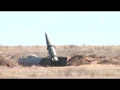 Учебно-боевой пуск ракеты ОТРК «Искандер» на полигоне Капустин Яр