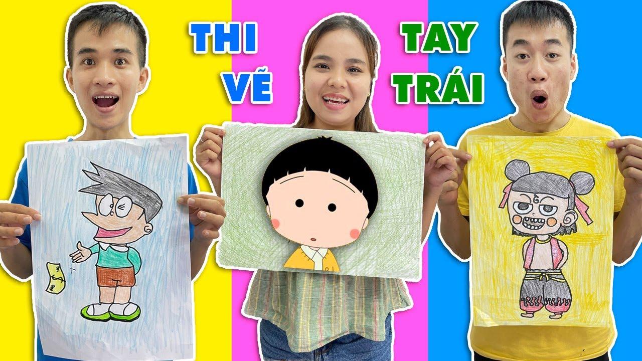Cuộc thi vẽ bằng tay trái các nhân vật hoạt hình Na Tra, Maruko, Xeko ... Ai là người vẽ đẹp nhất???