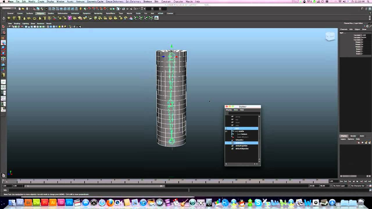 3D Maya rigging basics - Joints, IK handle, Controls and Bind Skin