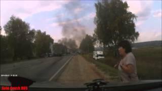 Момент ДТП на трассе Ижевск   Можга 18+