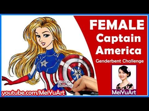 Female Captain America - How I Draw Avengers Superheroes - Genderbent CHALLENGE - 동영상