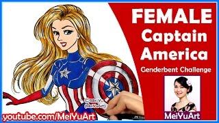 Female Captain America - How I Draw Avengers Superheroes - Genderbent CHALLENGE