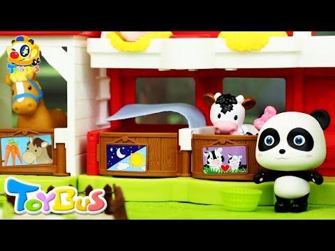 Baby Panda Has a Farm | T-Rex is Back | Farm Animals for Kids | Dinosaur Story | Play Doh | ToyBus