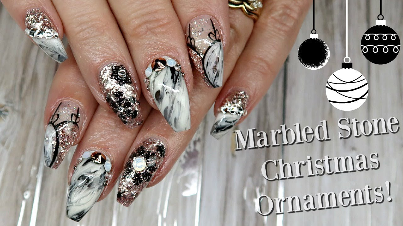 Marbled stone christmas ornament nail art day 6 youtube marbled stone christmas ornament nail art day 6 prinsesfo Gallery
