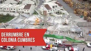 Derrumbe en construcción en la colonia Cumbres del Sol en Monterrey