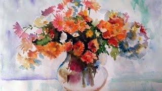 Как нарисовать акварелью букет хризантем.