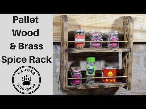 Pallet Wood & Brass Spice Rack