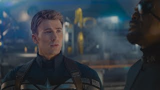 """Ник Фьюри показывает Капитану Америке проект """"Озарение"""". Первый мститель: Другая война. 2014"""