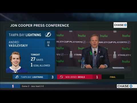 Jon Cooper -- Tampa Bay Lightning at New Jersey Devils Game 4 04/18/2018