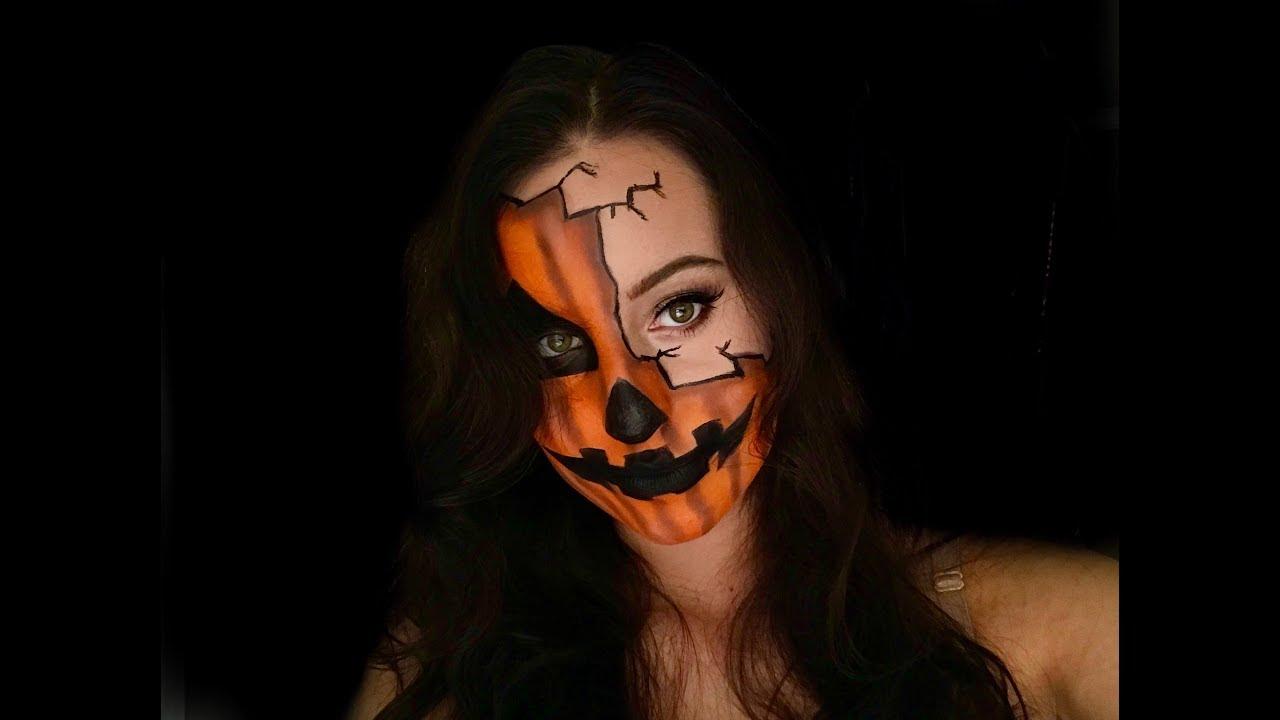 Uncategorized Pumpkin Face Makeup half pumpkin face halloween makeup youtube makeup
